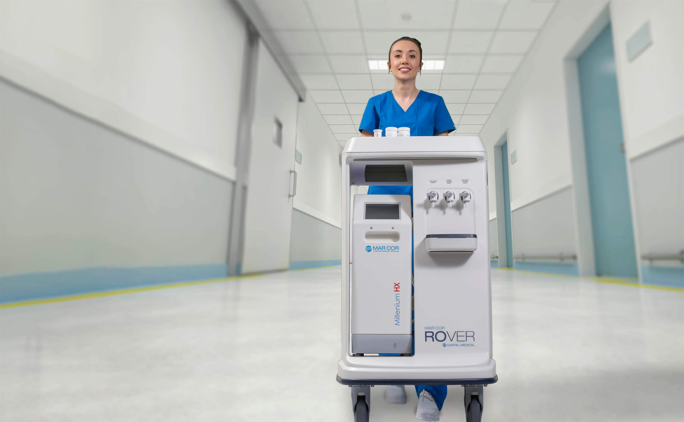 Nurse Pushing Portable Dialysis System