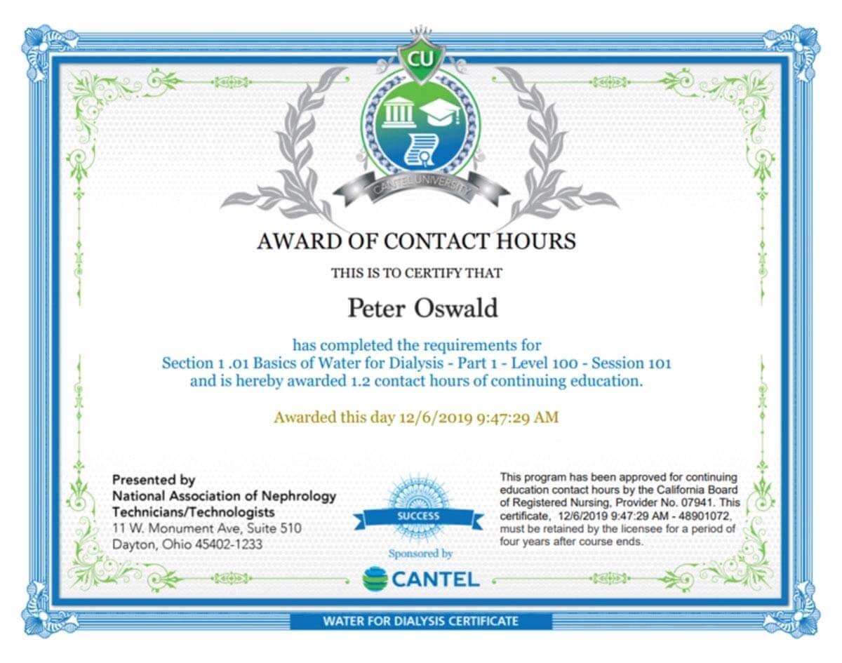 Peter Oswald certificate